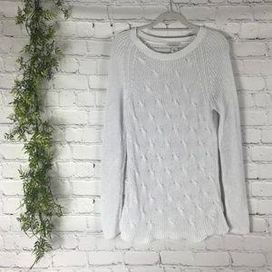 Liz Claiborne White Chunky Knit Scoop Neck Sweater